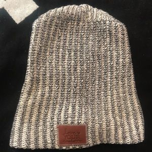 Love Your Melon white and black slouchy beanie